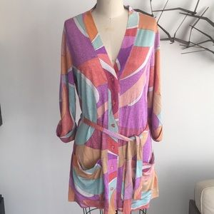 Emilio Pucci metallic button down cover up. Size 6